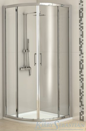 KIRBY SEBASTIAN BARCELONA POLISHED ALUMINIUM 2 SLIDING DOOR 800mm x 800mm QUADRANT SHOWER CUBICLE, BAR8080QU